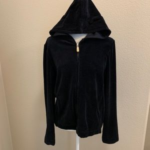 Fresh Produce Black Velour Front Zip Hoodie Jacket